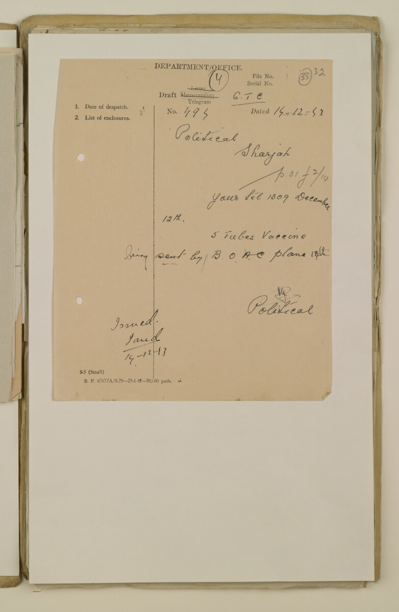 'File 2/14 II Epidemics (in places other than Bahrain) Cholera, Smallpox etc' [33r] (65/358)