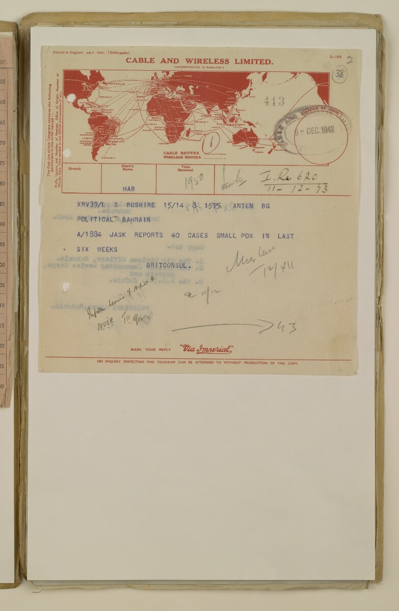 'File 2/14 II Epidemics (in places other than Bahrain) Cholera, Smallpox etc' [38r] (75/358)