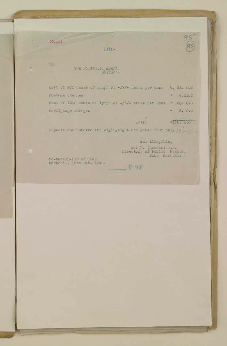 'File 2/14 II Epidemics (in places other than Bahrain) Cholera, Smallpox etc' [‎133r] (265/358)