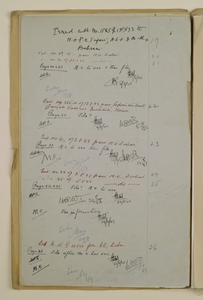 'File 2/14 II Epidemics (in places other than Bahrain) Cholera, Smallpox etc' [164v] (328/358)