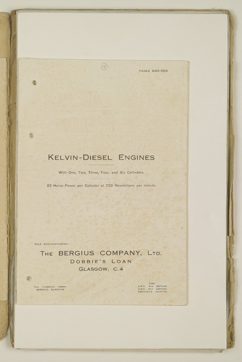 'Sea-going launch for the Political Agent, Bahrain. Corr. re: Kelvin Engine.' [‎1br] (5/398)