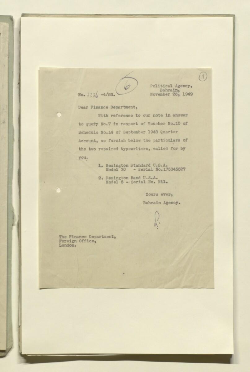 File 4/53 F O  a/c Queries ' [ 11r] (21/92) | Qatar Digital Library