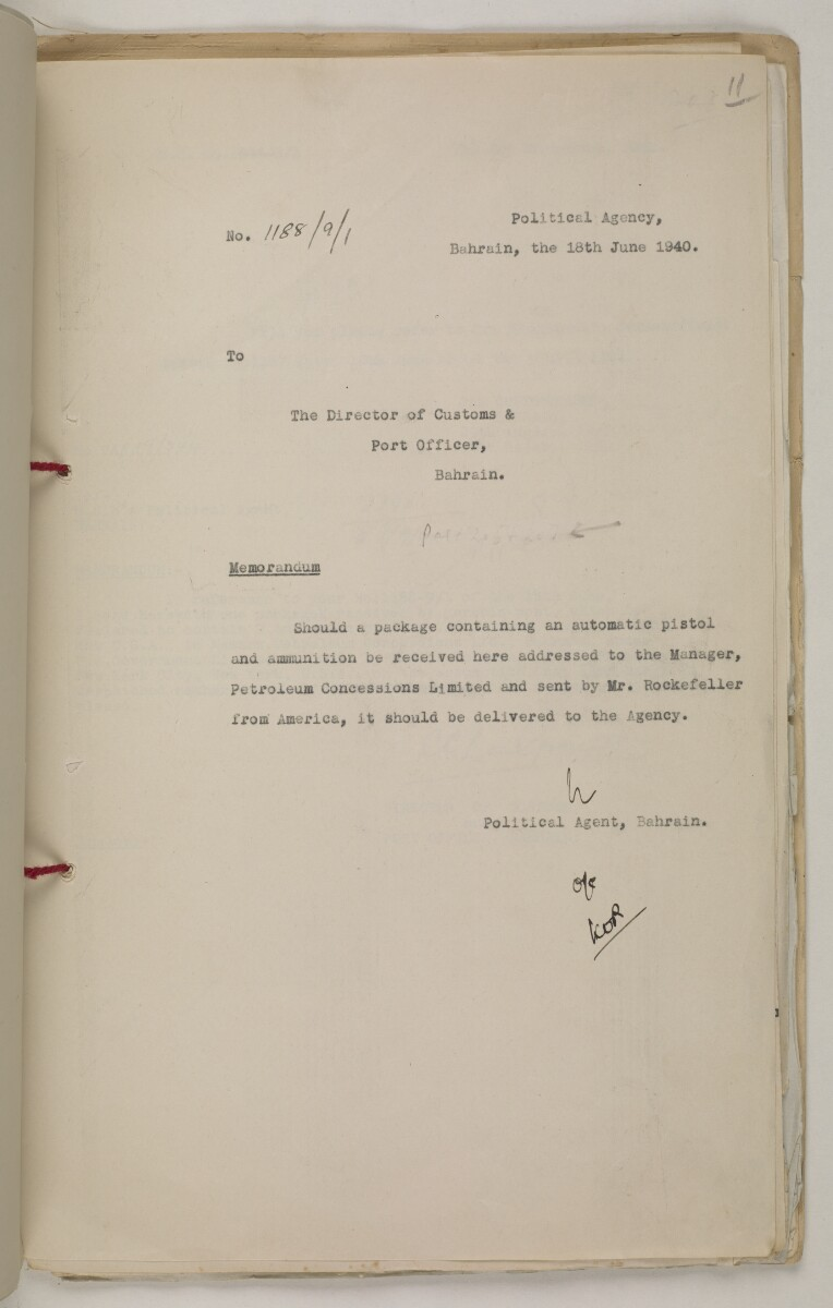 'File 9/1 A. Presentation of arms by P.C.L. to Rulers of Trucial Coast' [‎11r] (23/88)