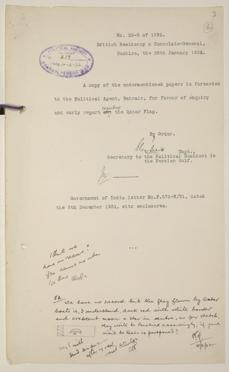 'Flags Flown by the Sheikh of Qatar. (Bahrain and Trucial Coast)' [6r] (11/142)