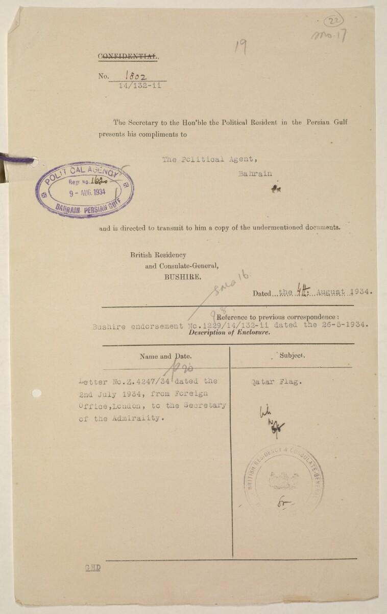 'Flags Flown by the Sheikh of Qatar. (Bahrain and Trucial Coast)' [22r] (43/142)