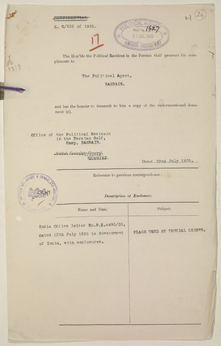 'Flags Flown by the Sheikh of Qatar. (Bahrain and Trucial Coast)' [‎24r] (47/142)