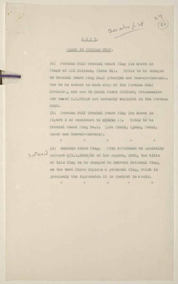 'Flags Flown by the Sheikh of Qatar. (Bahrain and Trucial Coast)' [27r] (53/142)