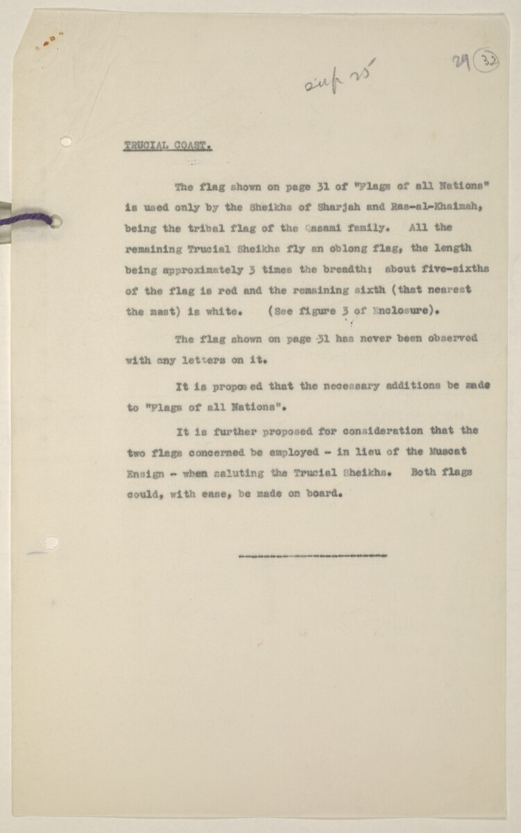 'Flags Flown by the Sheikh of Qatar. (Bahrain and Trucial Coast)' [‎32r] (63/142)