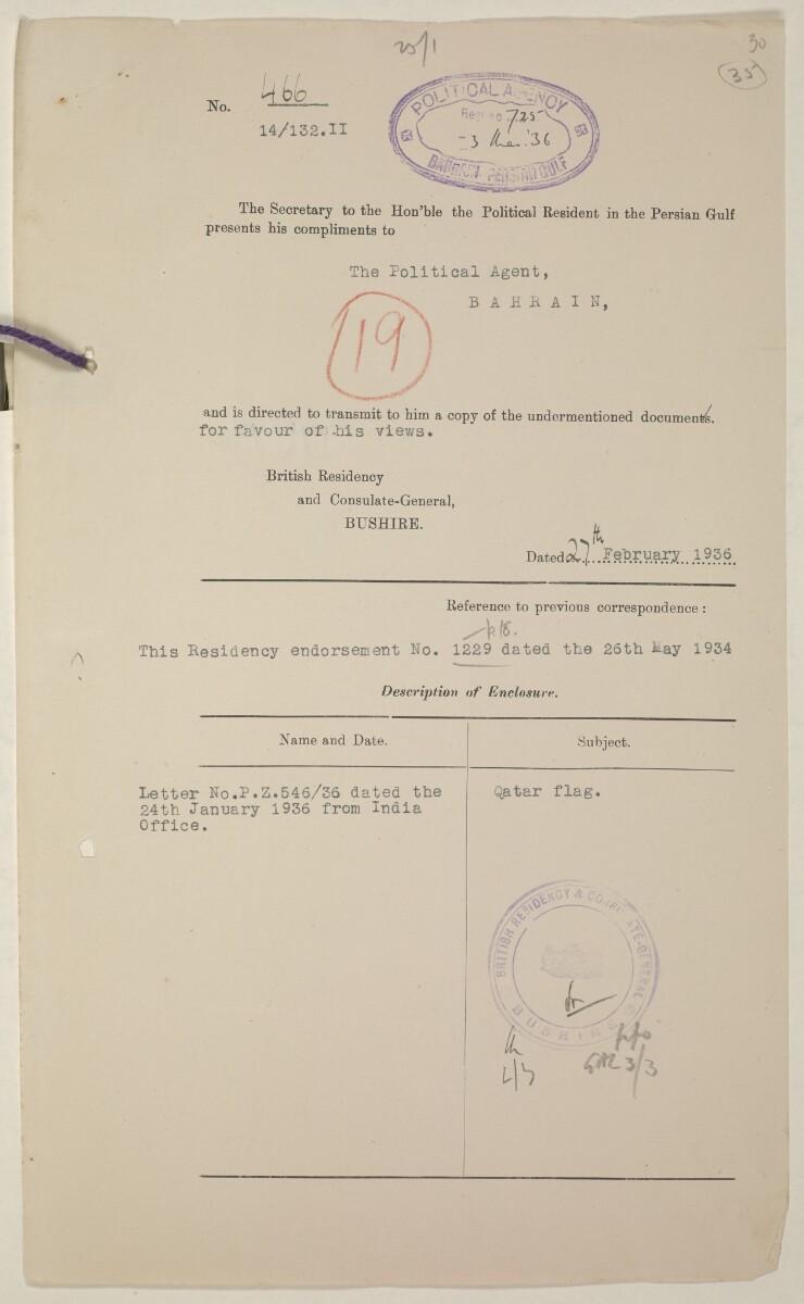 'Flags Flown by the Sheikh of Qatar. (Bahrain and Trucial Coast)' [35ar] (71/142)