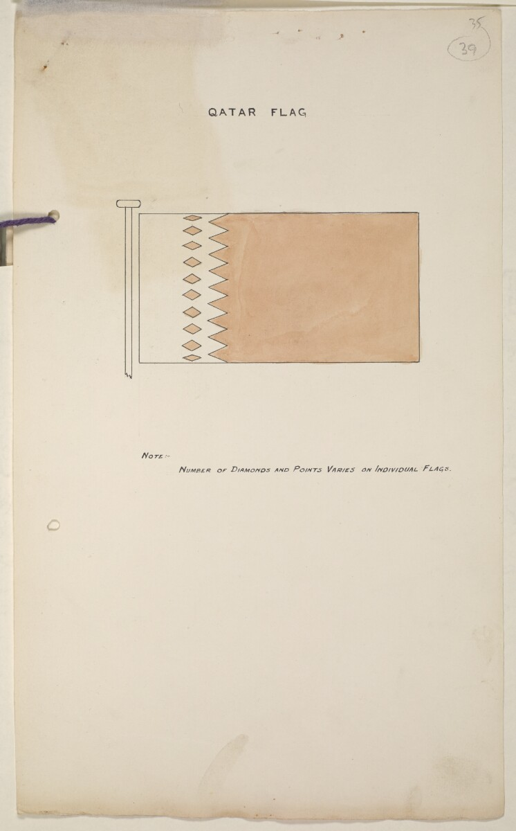 'Flags Flown by the Sheikh of Qatar. (Bahrain and Trucial Coast)' [‎39r] (81/142)