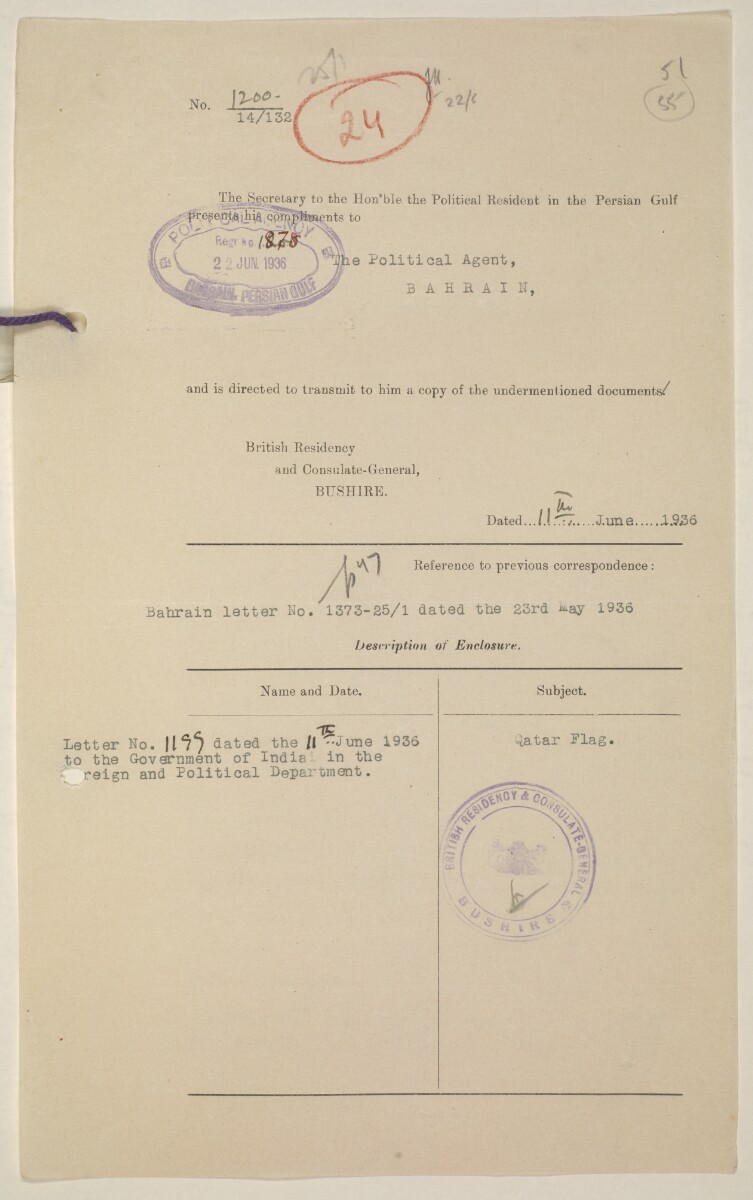 'Flags Flown by the Sheikh of Qatar. (Bahrain and Trucial Coast)' [‎55r] (113/142)
