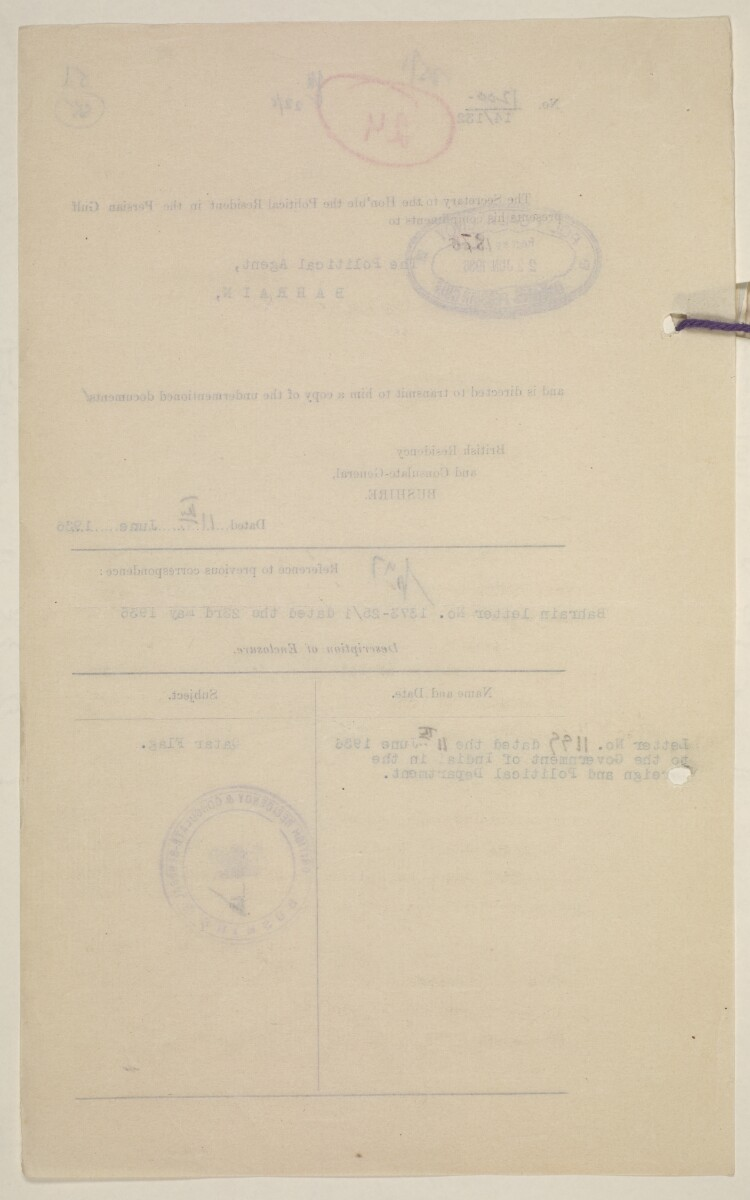 'Flags Flown by the Sheikh of Qatar. (Bahrain and Trucial Coast)' [‎55v] (114/142)