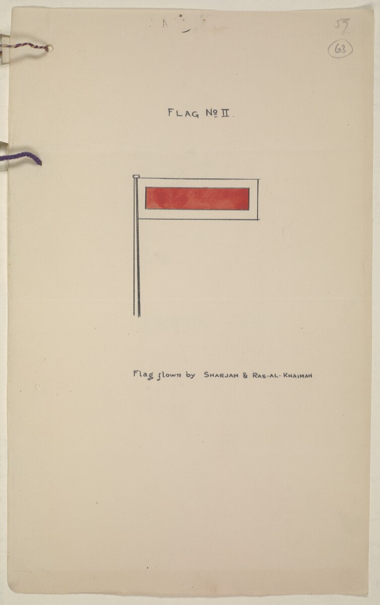 'Flags Flown by the Sheikh of Qatar. (Bahrain and Trucial Coast)' [‎63r] (129/142)