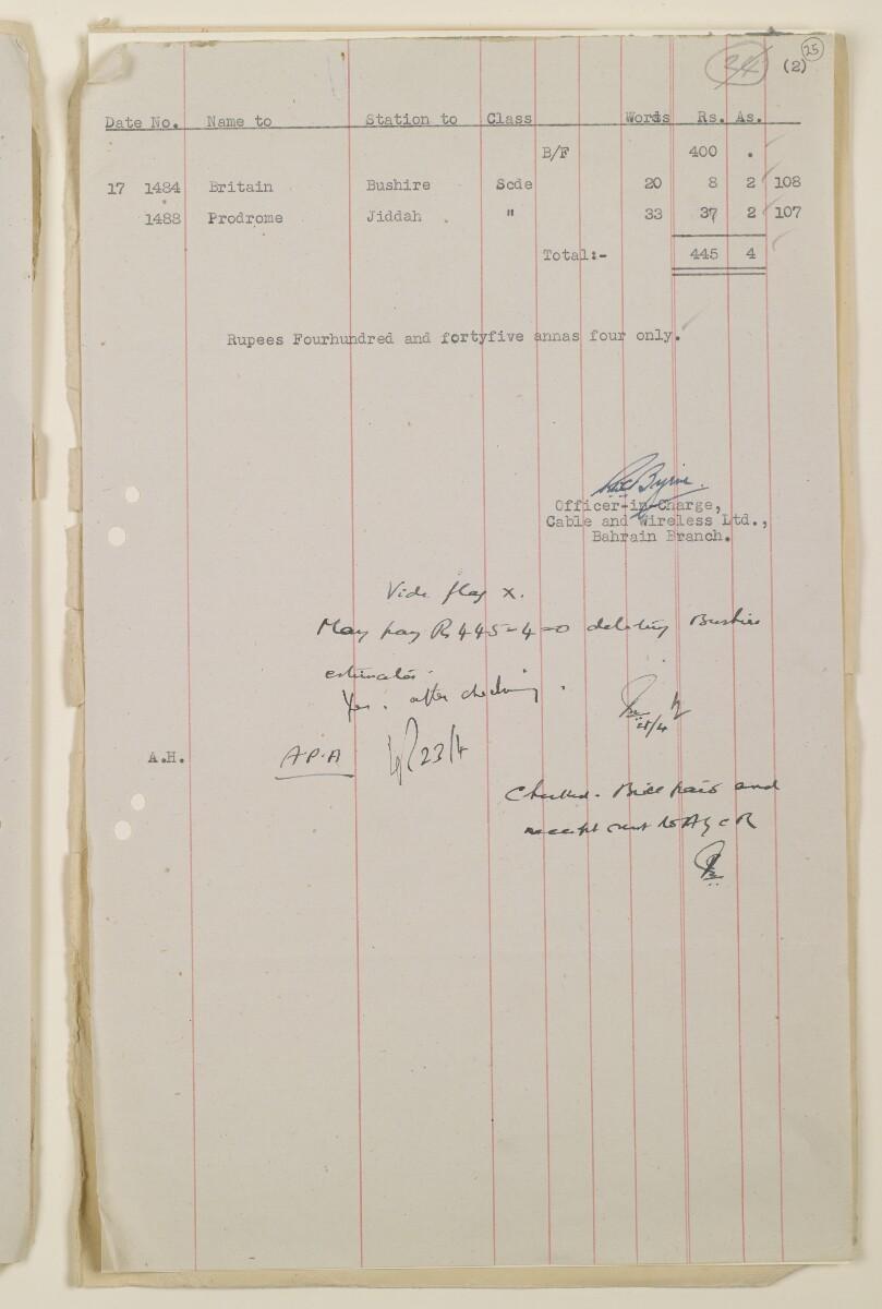 """""""مدفوعات بالنيابة عن مكتب العلاقات العامة في بوشهر وغيره - بيانات المتغيّبين - الحساب النقدي"""" [<span dir=""""ltr"""">و٢٥</span>] (١٠٩٨/٤٩)"""