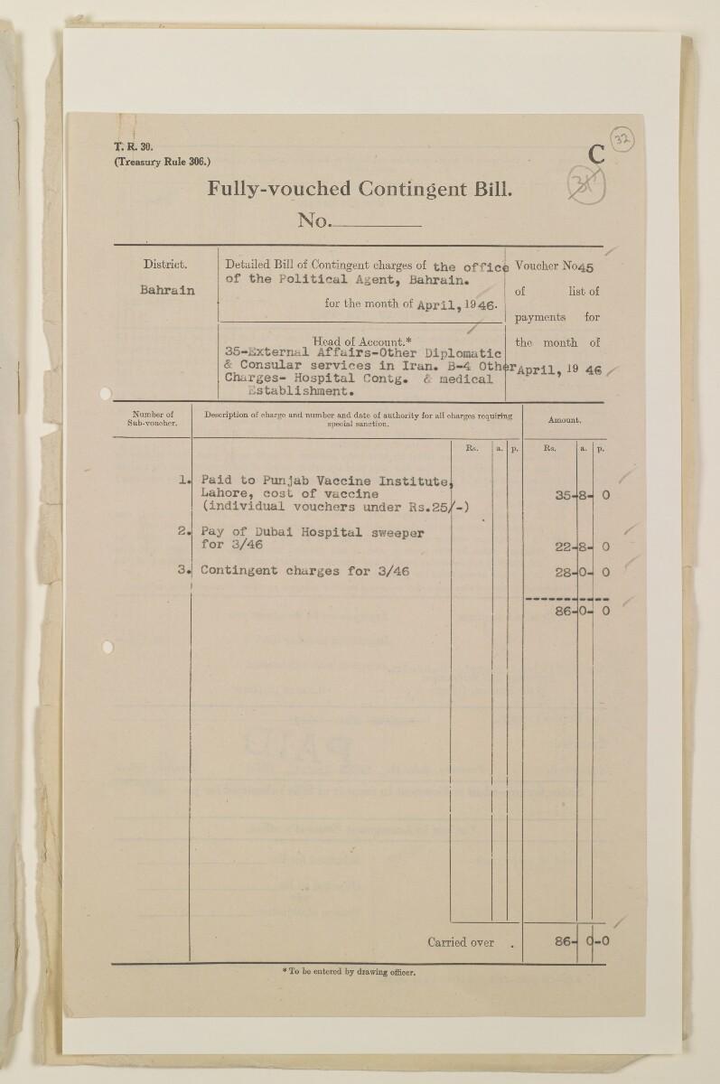 """""""مدفوعات بالنيابة عن مكتب العلاقات العامة في بوشهر وغيره - بيانات المتغيّبين - الحساب النقدي"""" [<span dir=""""ltr"""">و٣٢</span>] (١٠٩٨/٦٣)"""