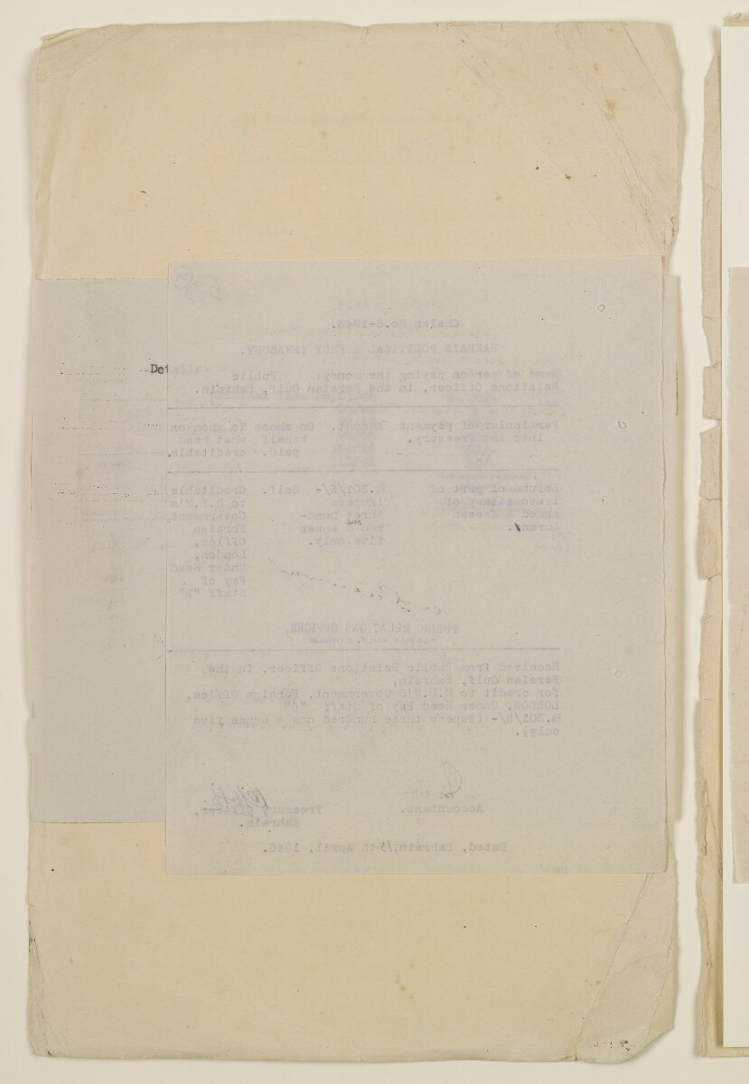 'Payments on behalf of P.R.O. Bushire etc – Absentee statements – cash account' [34v] (68/1098)