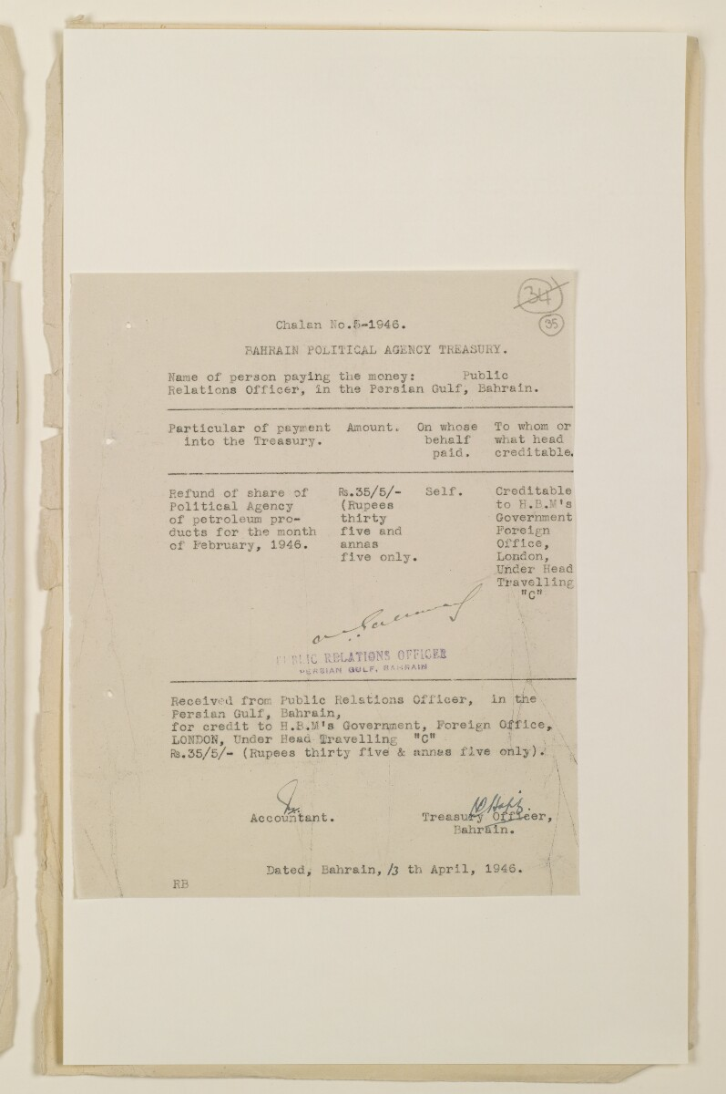 'Payments on behalf of P.R.O. Bushire etc – Absentee statements – cash account' [35r] (69/1098)