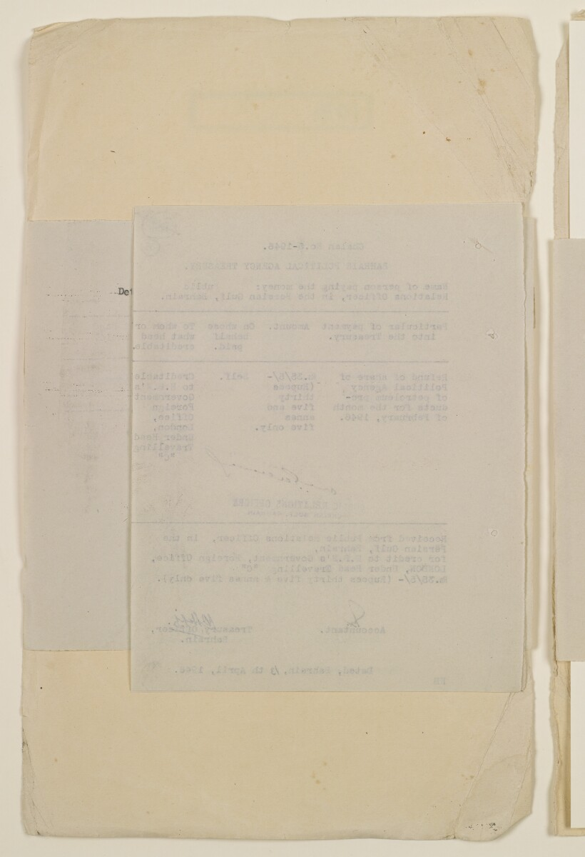 'Payments on behalf of P.R.O. Bushire etc – Absentee statements – cash account' [35v] (70/1098)