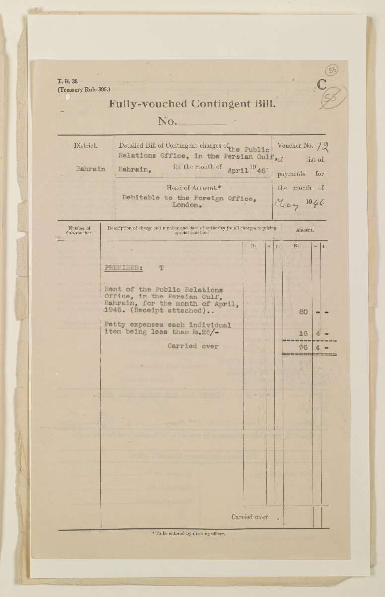 'Payments on behalf of P.R.O. Bushire etc – Absentee statements – cash account' [56r] (111/1098)