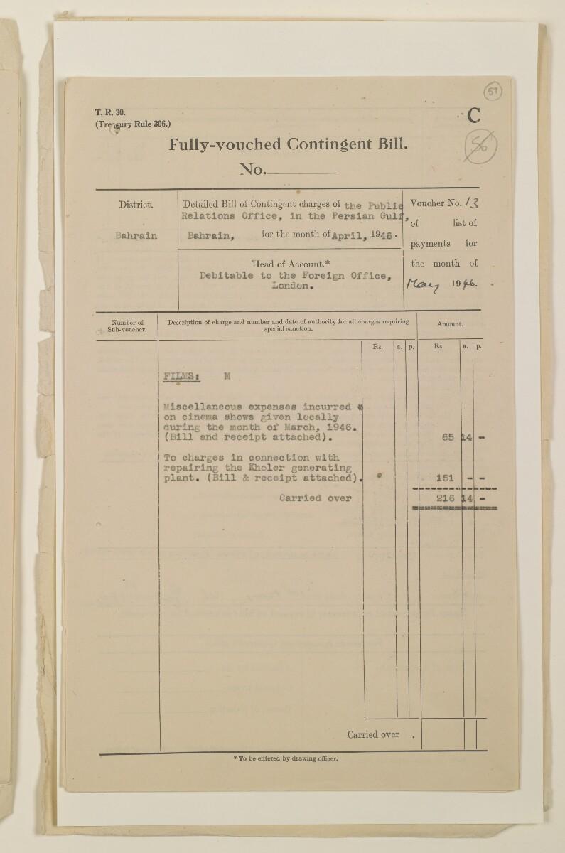 """""""مدفوعات بالنيابة عن مكتب العلاقات العامة في بوشهر وغيره - بيانات المتغيّبين - الحساب النقدي"""" [<span dir=""""ltr"""">و٥٧</span>] (١٠٩٨/١١٣)"""