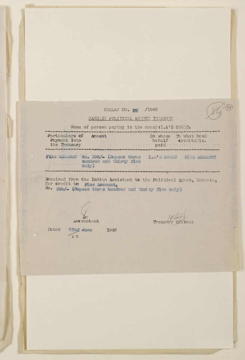 """""""مدفوعات بالنيابة عن مكتب العلاقات العامة في بوشهر وغيره - بيانات المتغيّبين - الحساب النقدي"""" [<span dir=""""ltr"""">و٨٧</span>] (١٠٩٨/١٧٣)"""