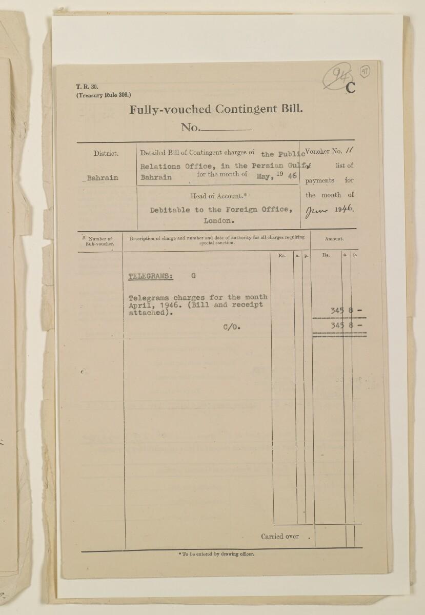 """""""مدفوعات بالنيابة عن مكتب العلاقات العامة في بوشهر وغيره - بيانات المتغيّبين - الحساب النقدي"""" [<span dir=""""ltr"""">و٩٧</span>] (١٠٩٨/١٩٣)"""