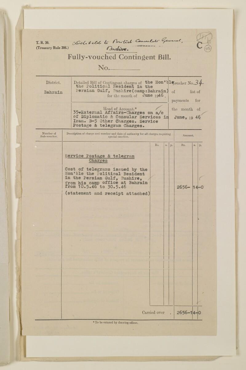 """""""مدفوعات بالنيابة عن مكتب العلاقات العامة في بوشهر وغيره - بيانات المتغيّبين - الحساب النقدي"""" [<span dir=""""ltr"""">و١١٥</span>] (١٠٩٨/٢٢٩)"""