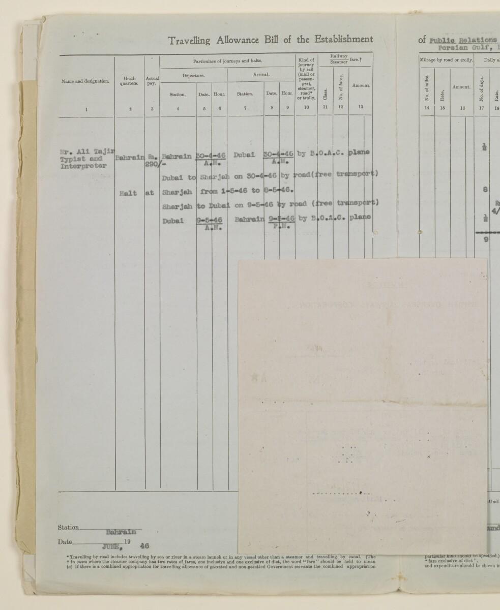 """""""مدفوعات بالنيابة عن مكتب العلاقات العامة في بوشهر وغيره - بيانات المتغيّبين - الحساب النقدي"""" [<span dir=""""ltr"""">ظأ١٢٦</span>] (١٠٩٨/٢٥٢)"""