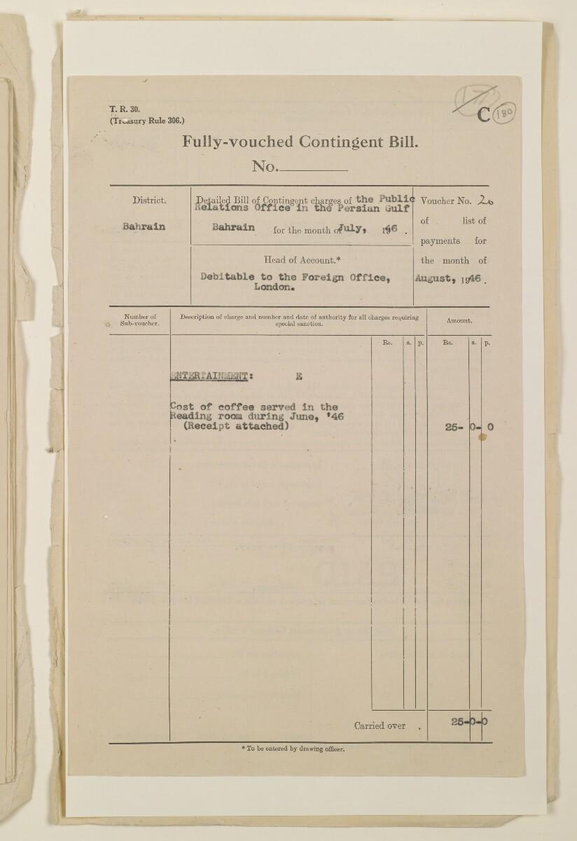 """""""مدفوعات بالنيابة عن مكتب العلاقات العامة في بوشهر وغيره - بيانات المتغيّبين - الحساب النقدي"""" [<span dir=""""ltr"""">و١٨٠</span>] (١٠٩٨/٣٦١)"""