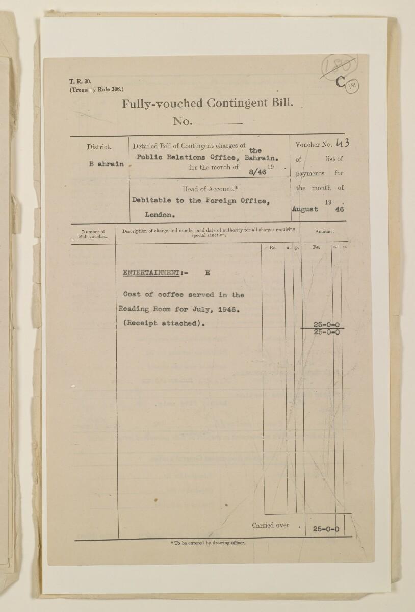 """""""مدفوعات بالنيابة عن مكتب العلاقات العامة في بوشهر وغيره - بيانات المتغيّبين - الحساب النقدي"""" [<span dir=""""ltr"""">و١٩١</span>] (١٠٩٨/٣٨٥)"""