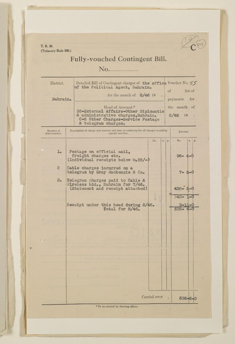 """""""مدفوعات بالنيابة عن مكتب العلاقات العامة في بوشهر وغيره - بيانات المتغيّبين - الحساب النقدي"""" [<span dir=""""ltr"""">و٢٠٢</span>] (١٠٩٨/٤٠٧)"""
