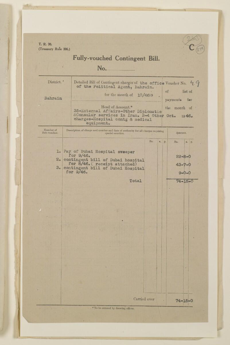 """""""مدفوعات بالنيابة عن مكتب العلاقات العامة في بوشهر وغيره - بيانات المتغيّبين - الحساب النقدي"""" [<span dir=""""ltr"""">و٢٧٩</span>] (١٠٩٨/٥٦١)"""
