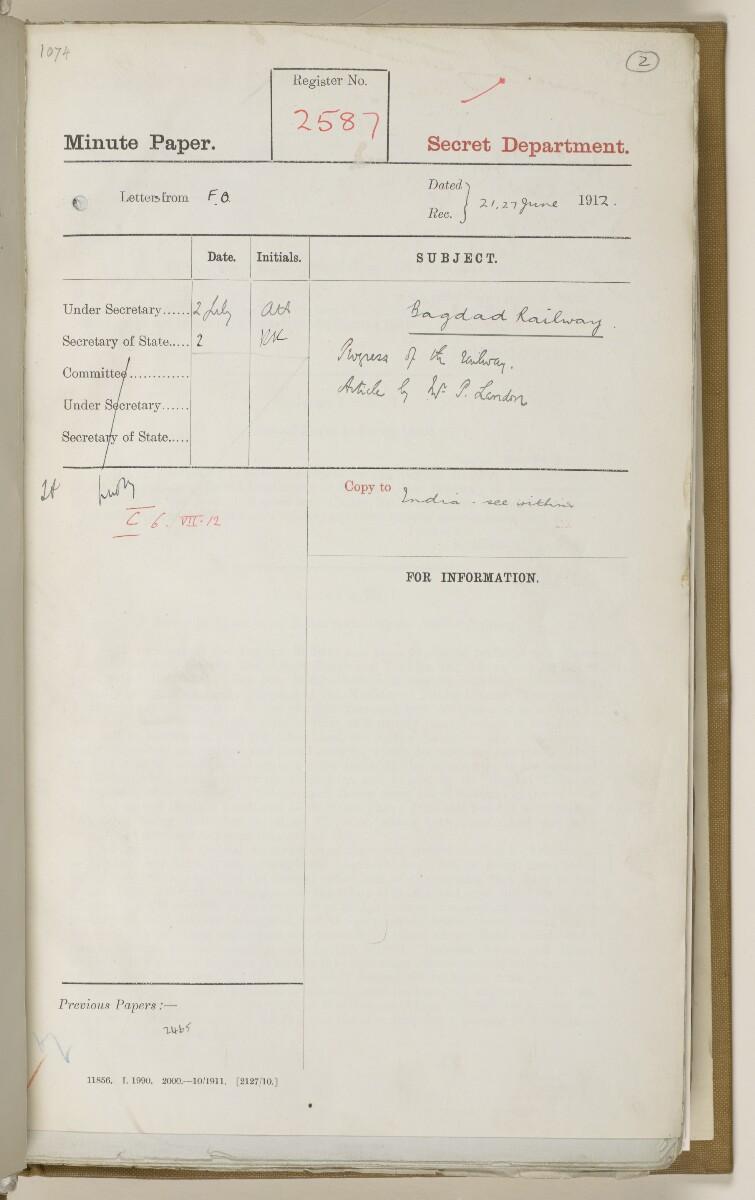 """ملف ١٩٠٤/٢٧٦٤ الجزء ٣ """"سكة حديد بغداد: مفاوضات عامة ١٩١٠-١٩١٢."""" [<span dir=""""ltr"""">و٢</span>] (٥٤٤/١٢)"""