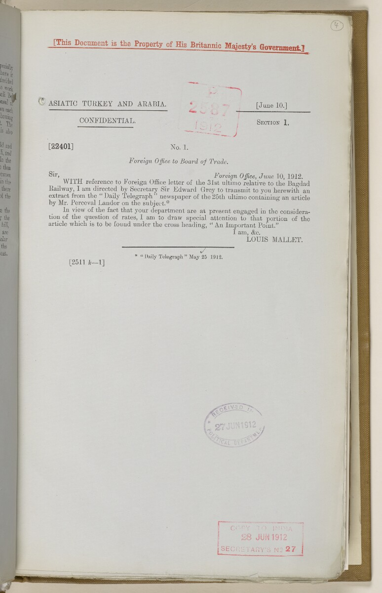 File 2764/1904 Pt 3 'Baghdad Railway: general negotiations 1910-1912.' [‎4r] (16/544)