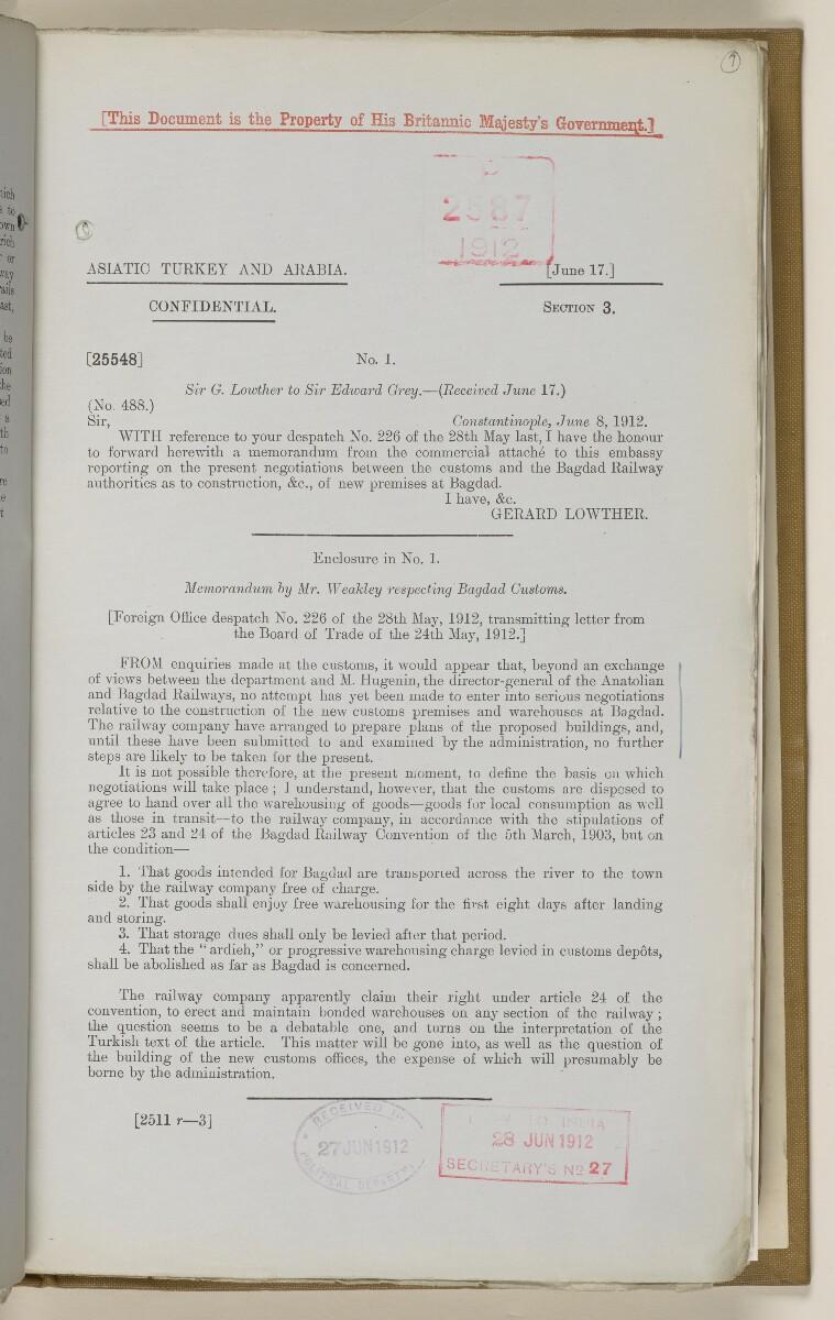 File 2764/1904 Pt 3 'Baghdad Railway: general negotiations 1910-1912.' [7r] (22/544)