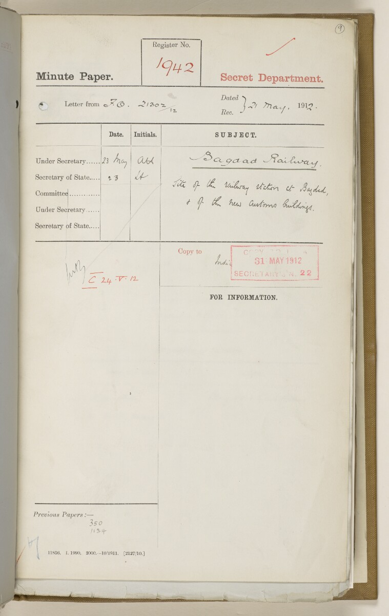 File 2764/1904 Pt 3 'Baghdad Railway: general negotiations 1910-1912.' [‎9r] (26/544)