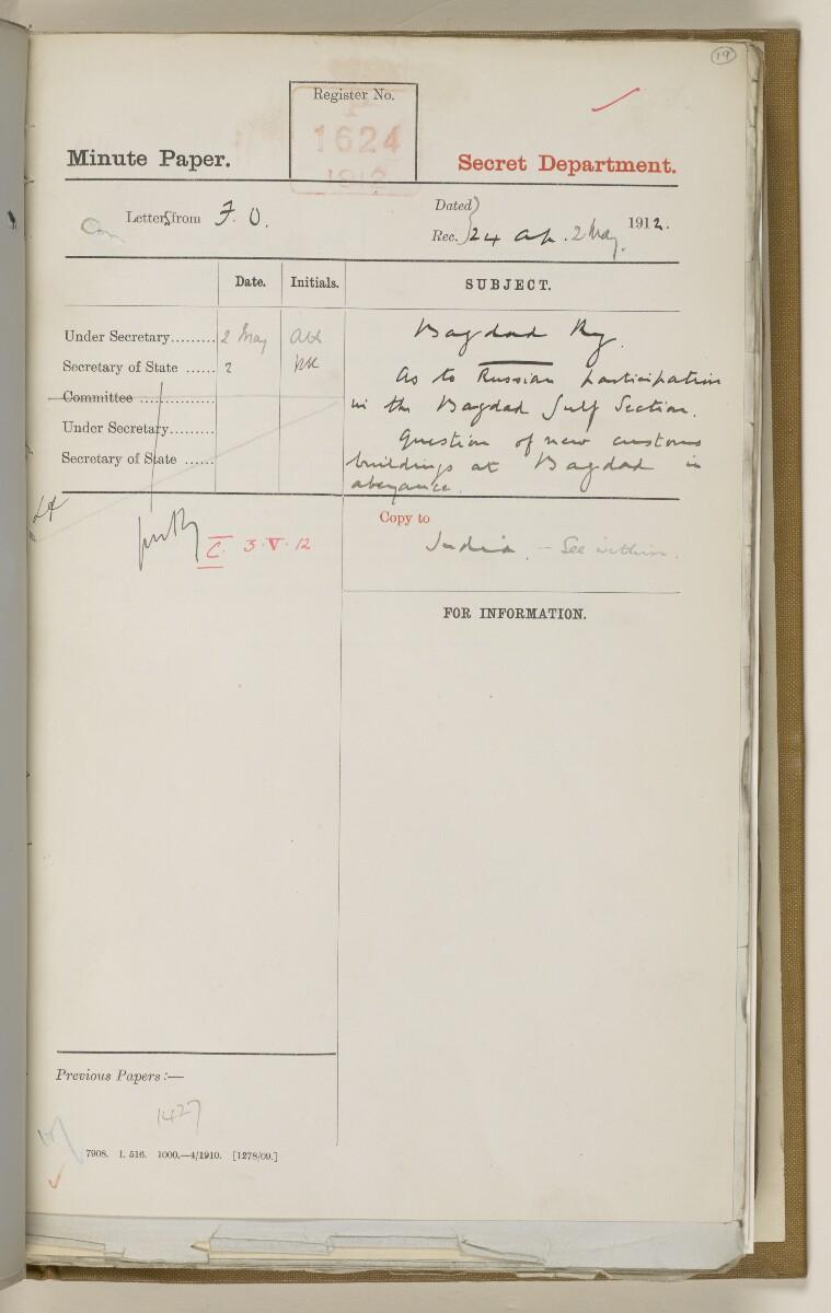 File 2764/1904 Pt 3 'Baghdad Railway: general negotiations 1910-1912.' [19r] (46/544)