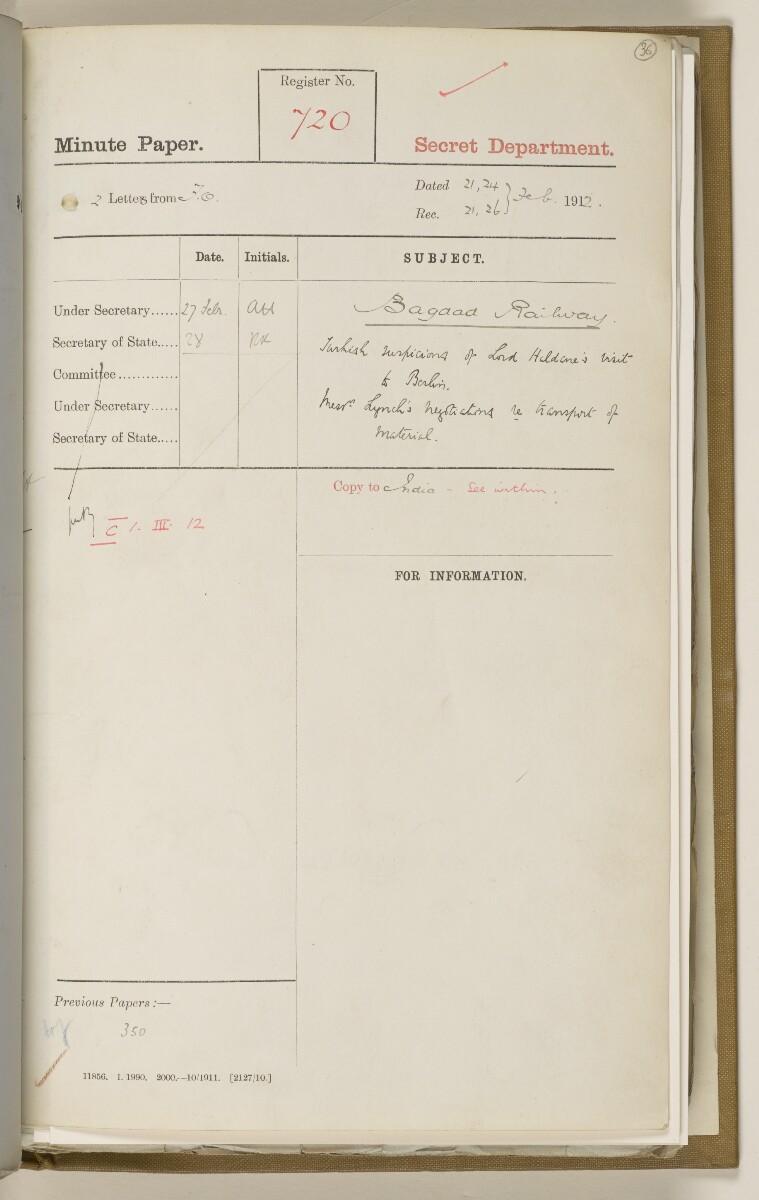 File 2764/1904 Pt 3 'Baghdad Railway: general negotiations 1910-1912.' [36r] (80/544)