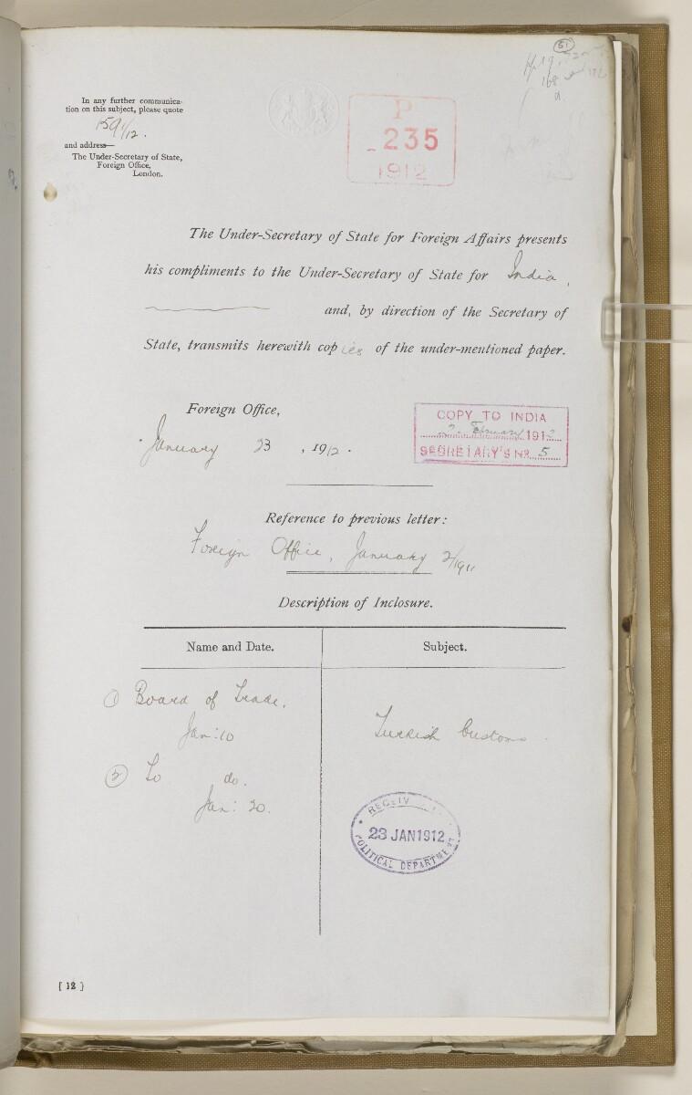 File 2764/1904 Pt 3 'Baghdad Railway: general negotiations 1910-1912.' [51r] (110/544)