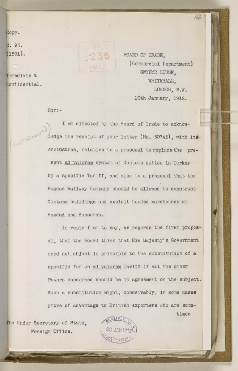 File 2764/1904 Pt 3 'Baghdad Railway: general negotiations 1910-1912.' [52r] (112/544)