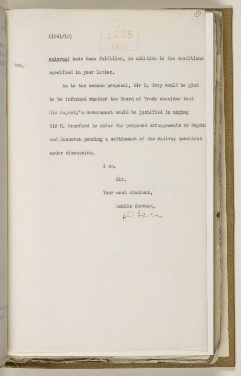 File 2764/1904 Pt 3 'Baghdad Railway: general negotiations 1910-1912.' [57r] (122/544)