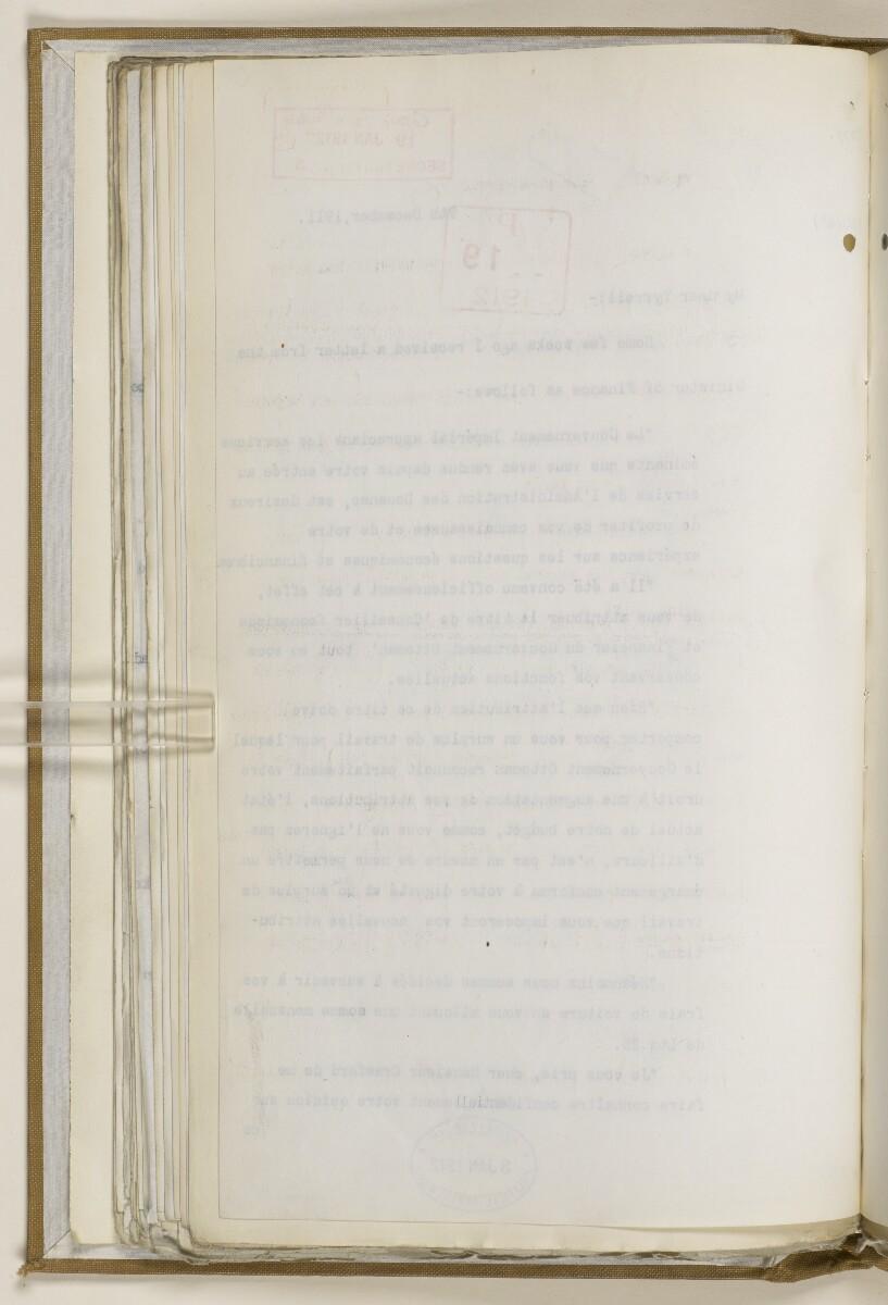 File 2764/1904 Pt 3 'Baghdad Railway: general negotiations 1910-1912.' [70v] (149/544)