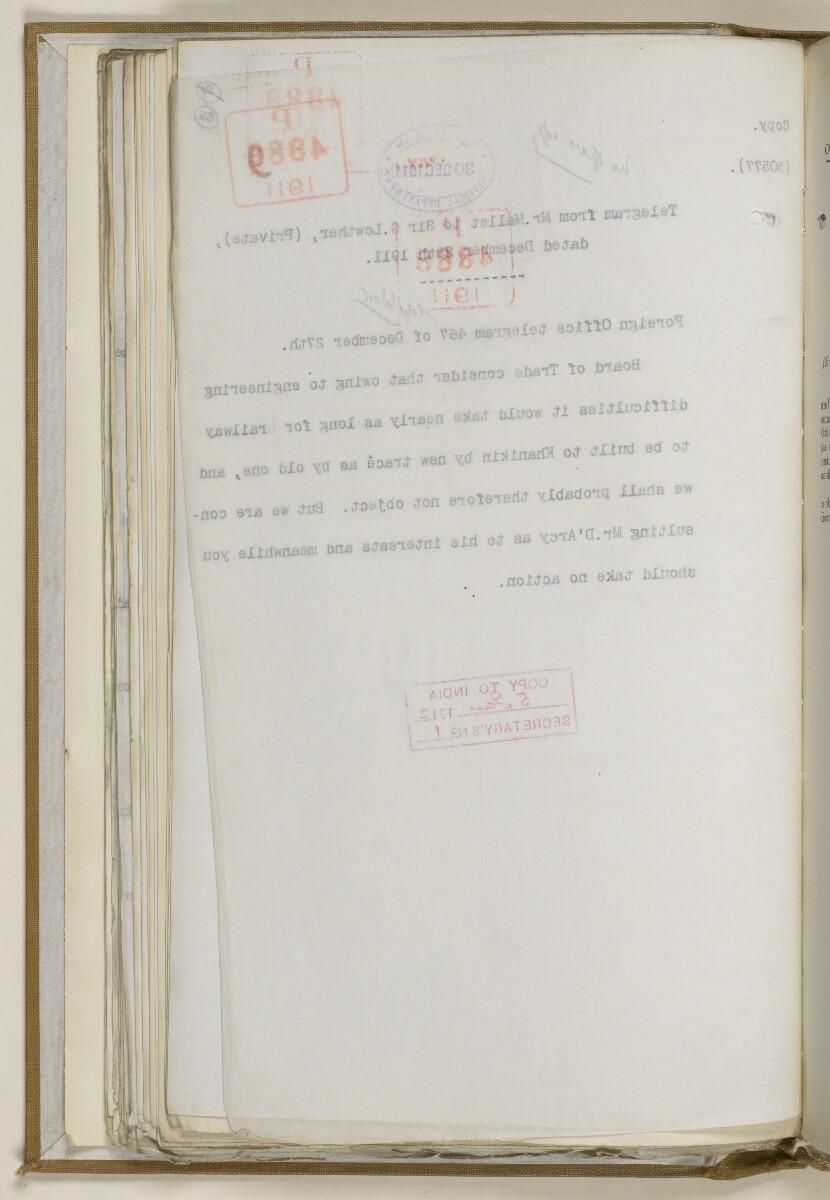 File 2764/1904 Pt 3 'Baghdad Railway: general negotiations 1910-1912.' [85v] (179/544)