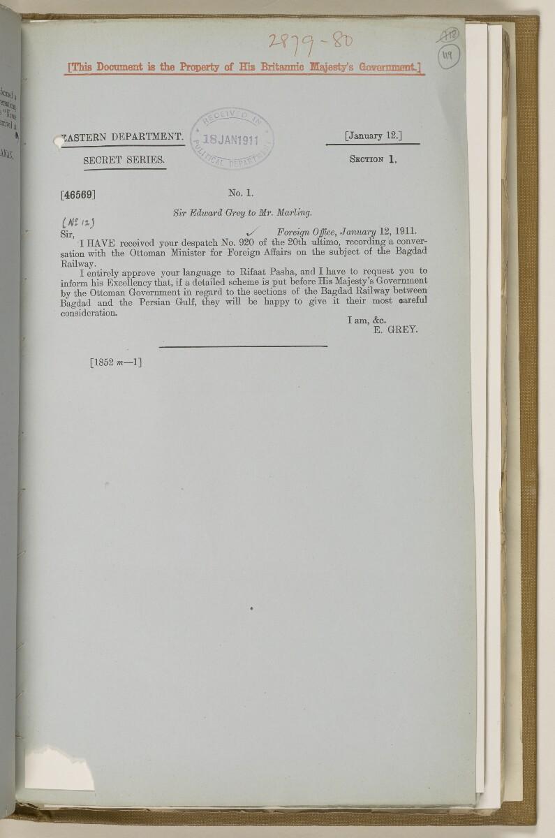 File 2764/1904 Pt 3 'Baghdad Railway: general negotiations 1910-1912.' [119r] (246/544)