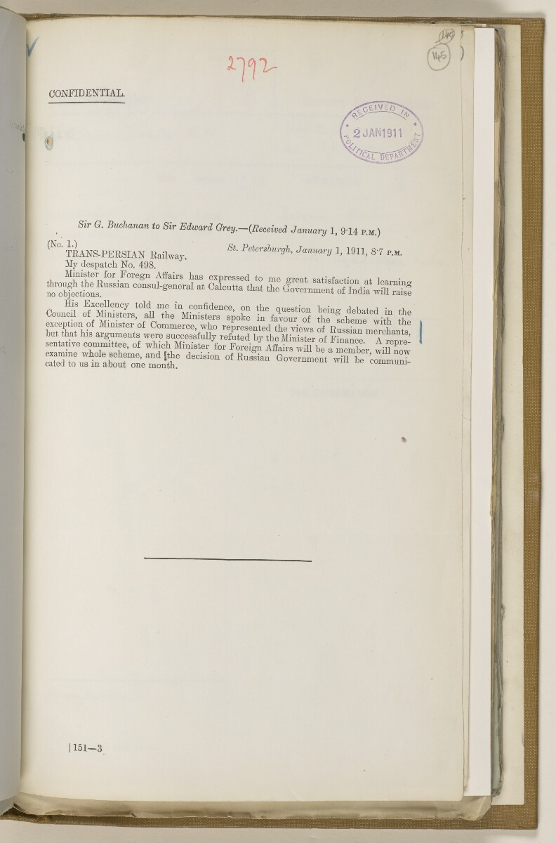 File 2764/1904 Pt 3 'Baghdad Railway: general negotiations 1910-1912.' [‎145r] (298/544)
