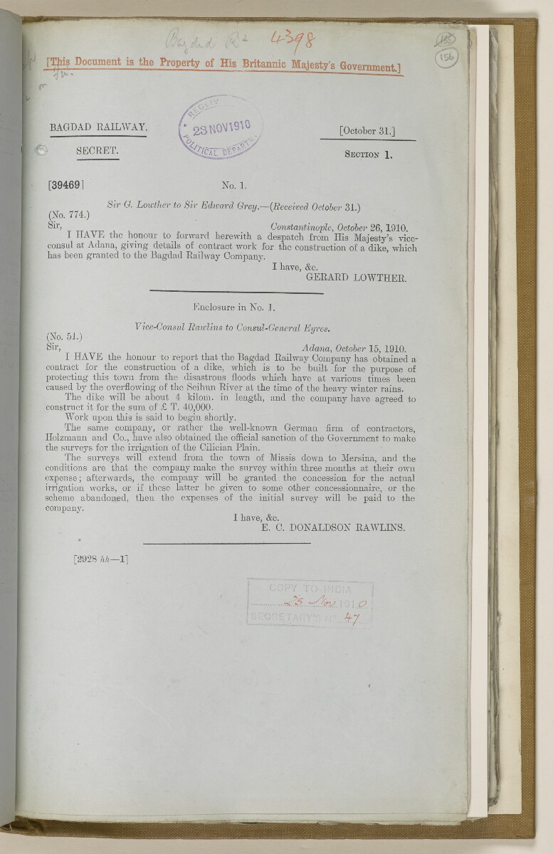 File 2764/1904 Pt 3 'Baghdad Railway: general negotiations 1910-1912.' [‎156r] (322/544)