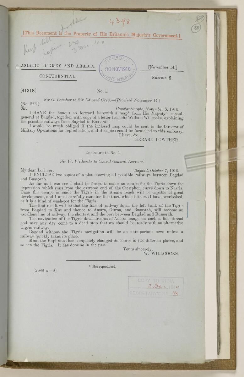 File 2764/1904 Pt 3 'Baghdad Railway: general negotiations 1910-1912.' [158r] (326/544)
