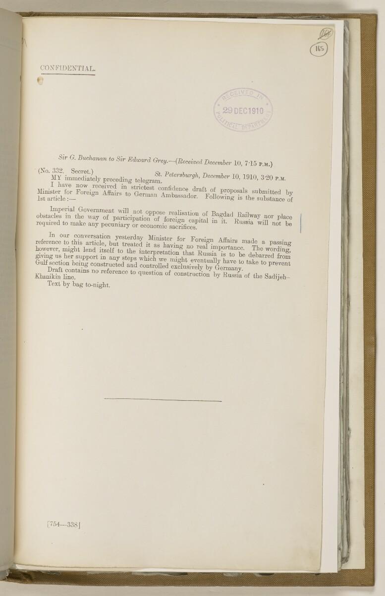 File 2764/1904 Pt 3 'Baghdad Railway: general negotiations 1910-1912.' [165r] (340/544)