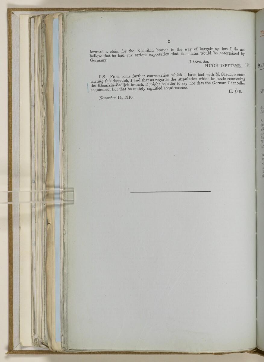 File 2764/1904 Pt 3 'Baghdad Railway: general negotiations 1910-1912.' [183v] (377/544)