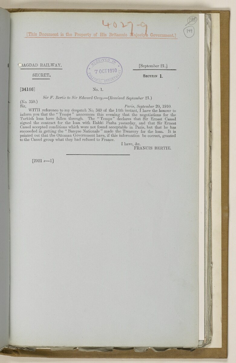 File 2764/1904 Pt 3 'Baghdad Railway: general negotiations 1910-1912.' [‎199r] (408/544)